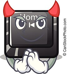 Devil mascot toy home button attached computer