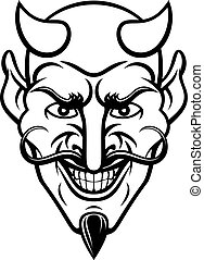 A devil cartoon character sports mascot face with an evil grin