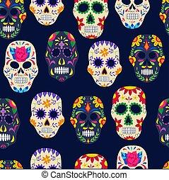 Dia de los muertos painted sugar skull seamless pattern