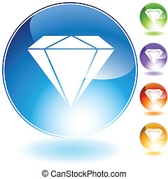 diamond jewel isolated on a white background.