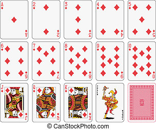 Detailed playing cards, diamond suit, joker and back