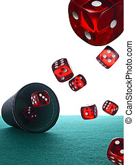 Many red dices are thrown from the shaker over the felt.