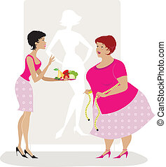 Vector illiustration of a lady giving diet advice to overweight woman