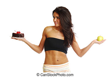 woman choice diet apple or cake