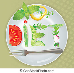 Diet. Contains transparent objects. EPS10