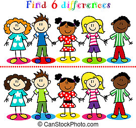 Find 6 difference game or visual puzzle: stick figure cartoon kids, little boys and girls, ethnic diversity.