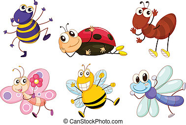 Illustration of the different bugs and insects on a white background