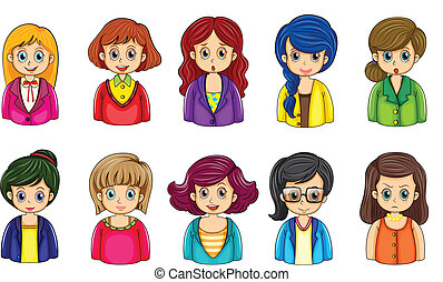 Illustration of the different faces of the businesswomen on a white background