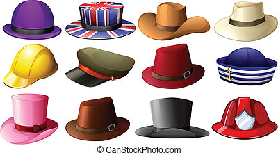 Illustration of the different hat designs on a white background