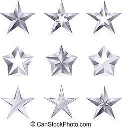 Different types and forms of silver stars. Illustration for design on white background