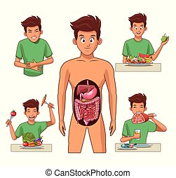 Digestive system and young man cartoon vector illustration graphic design