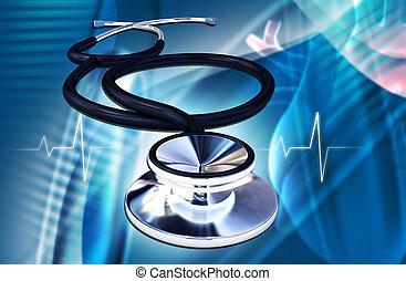 Digital illustration of stethoscope in colour background