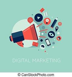 Flat design stylish vector illustration megaphone with cloud of colorful application icons on media theme. Digital marketing concept. Isolated on stylish turquoise background