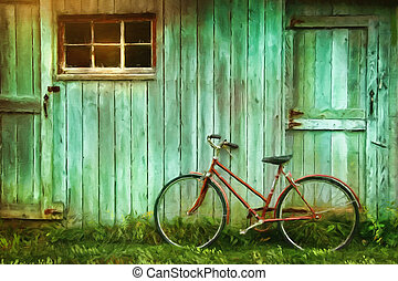 Digital Painting of old bicycle against grungy barn