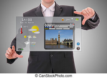 Digital world concept graphic, presentation made by businessman on futuristic user interface