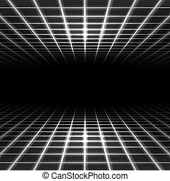 Light dimensional grid space tunnel floor and ceiling