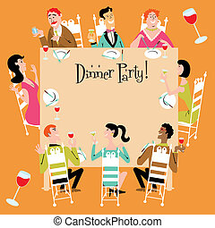 Dinner Party Invitation with a variety of men, women, teenager, grandma, gay or straight couples.