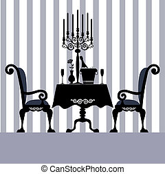 Romantic dinner for two with table and two chairs, candle and champagne, vector illustration