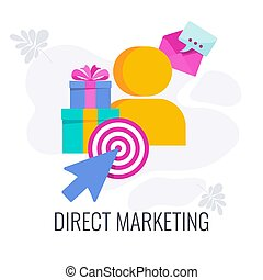 Direct marketing icon. Direct communication with the consumer. Personal communication. Target audience. Flat vector banner with icon.