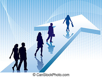People are walking on a direction sign, vector illustration.