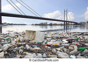 Photograph of polluted River full of rubbish showing environment we live in.