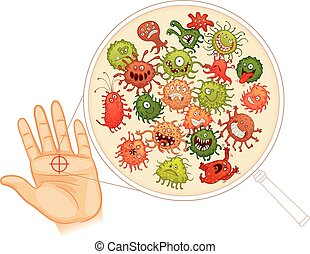 Dirty hands. Wash your hands before you eat! Vector illustration. Isolated on white background