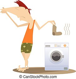 Man holds his nose and going to wash dirty laundry