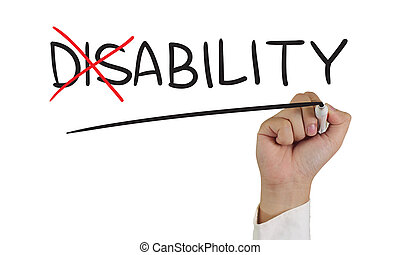 Motivational concept image of a hand holding marker and write Ability from Disability isolated on white
