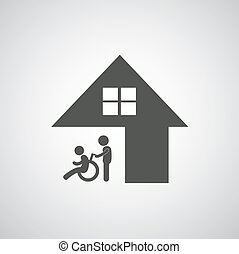 disabled care sign on gray background