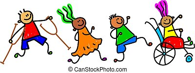 Whimsical cartoon illustration of a group of happy disabled children playing together.