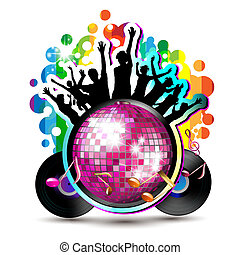 Disco globe with dancing silhouettes and vinyl record