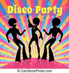 Disco Party invitation template with silhouette of a dancing people.