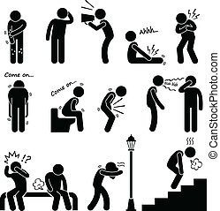 A set of human pictograms representing the symptoms and signs of human disease and sickness.