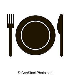 Dish fork and knife icon isolated on white background. Vector illustration