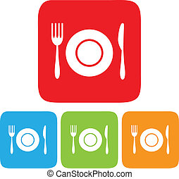 Dish, Fork and Knife icon