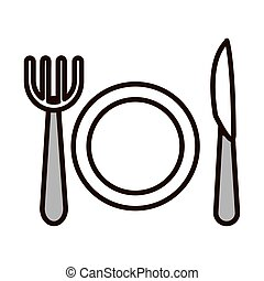 dish fork and knife kitchen line fill icon