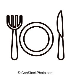 dish fork and knife kitchen line icon style