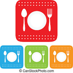 Dish, Fork and spoon icon