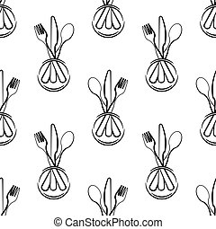 Dish Fork Knife Spoon Icon Seamless Pattern