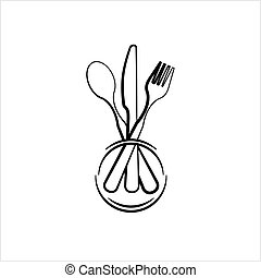 Dish Fork Knife Spoon Icon