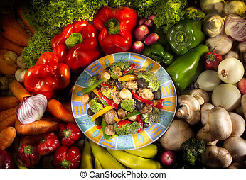 Dish of vegetarian food with vegetables