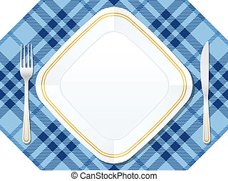 Dishware on red tablecloth. Vector illustration.