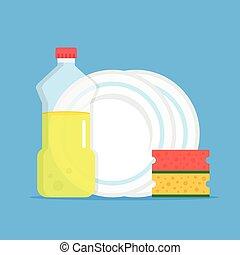 Dishwashing. Dishwashing liquid, kitchen sponges and dishes. Modern flat design graphic elements. Vector illustration