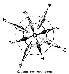 distressed compass rose over white background