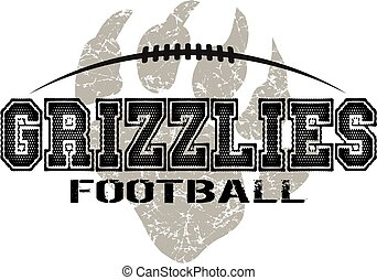 distressed grizzlies football design with claw