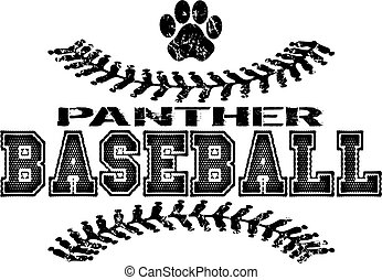 distressed panther baseball team design with paw print for school, college or league