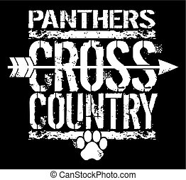 distressed panthers cross country team design with arrow and paw print