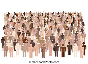 Crowd scene - a large group of many diverse symbol people isolated on white.