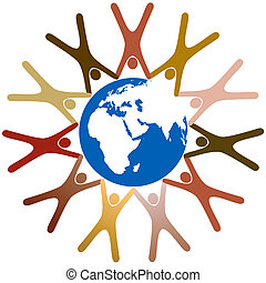 Diverse symbol people hold hands in ring around planet earth