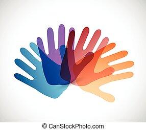 diversity color hands illustration design